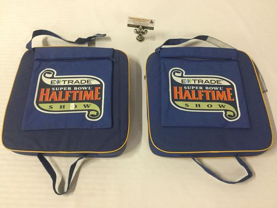 2x Super Bowl XXXV 2001 NFL Football E Trade stadium cushions 14x14x3 inches