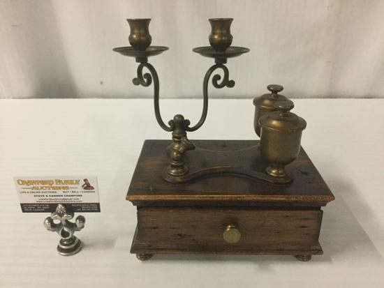 Vintage wood and brass desk top candle holder pen holder ink well w/ drawer approx 9x6x10 inches