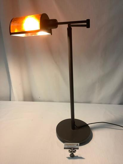Modern adjustable standing lamp, tested and working, approx 33x15 inches
