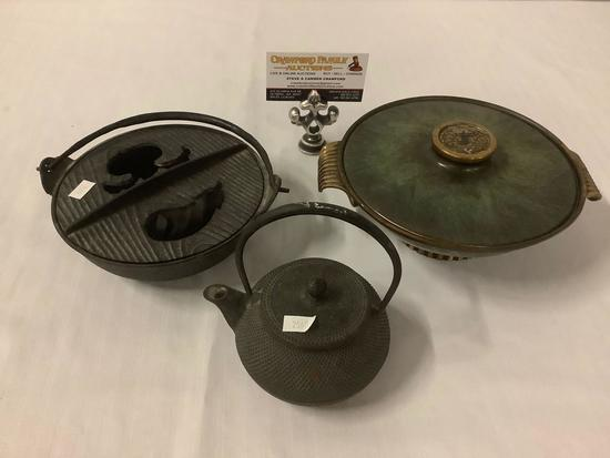 Lot of 3; cast iron bowl with lid, tea pot, rice bowl with lid, approx 9x8x4 inches.