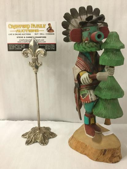 Hopi Kachina doll with tree and bell - handpainted and depicting a tribal dance