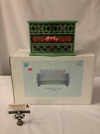 Lot of 2 decorative girls Jewelry box and Nova Kids - Butterfly Wall Shelf new in box, approx