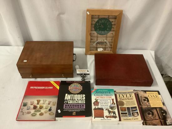 Lot of 8: 2x vintage flatware storage boxes, Boundary Waters Trading Post clock, 7x collectors books