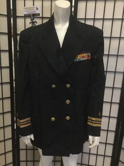 Black U.S. Navy uniform top/jacket, approx. 21x29 inches.