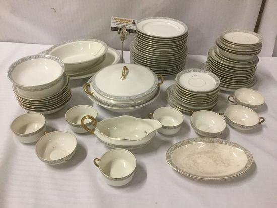 Over 65 pieces of Pope-Gosser China, incl. cups, saucers, bowls, platters, gravy boat, and more. Two