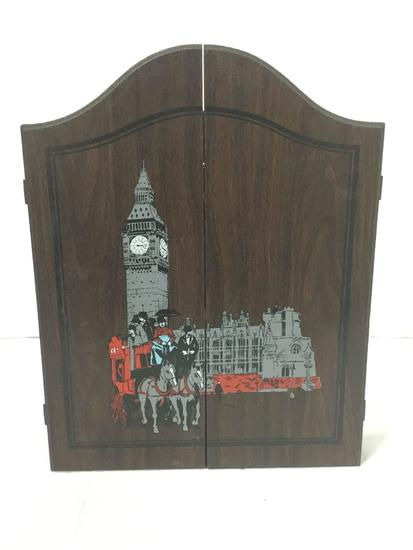 Brand New Half Sized Dartboard with Darts and Wall Hanging Case, Painted London. 18 x 14 inches