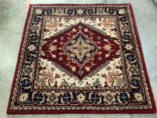 Safavieh Heritage 100% wool rug, made in India, color: red/heriz - 4x4 ft square