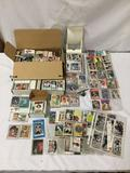 Collection of hundreds of vintage baseball, football, and basketball cards from many eras.
