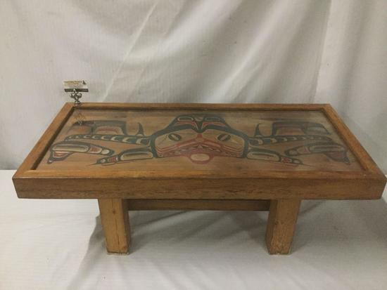 Rustic Native American PNW coffee table with painted animal relief top