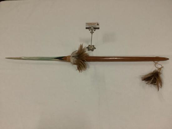 Handmade Hawaiian native wood Broadbill hunting spear w/ wrapped feather decoration
