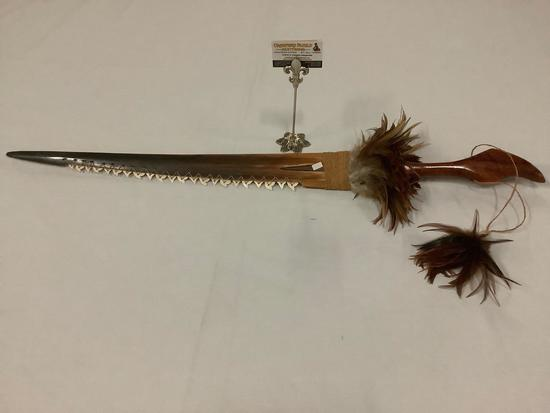 Stunning handmade Hawaiian koa & marlin bill sword w/ Mako shark tooth edge & feathers