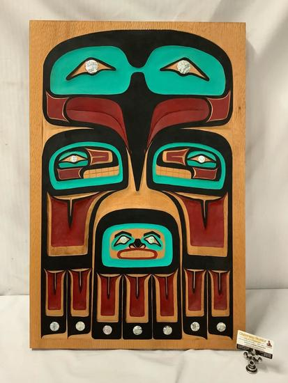 Native American hand carved & painted Eagle panel with abalone inlay - signed by artist Chilton