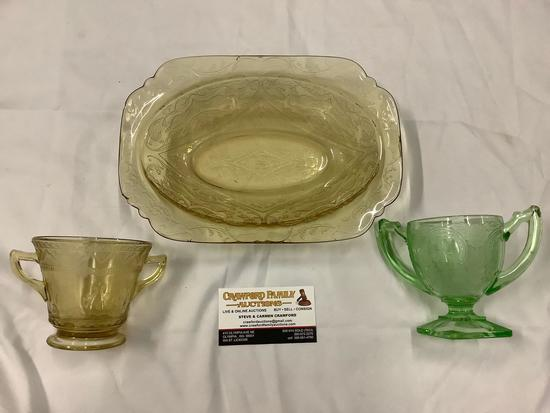 Lot of 3 antique depression glass home decor, largest approx 10x7x2 inches.