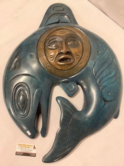 Jacques & Mary Regat (Alaska) Bronze fish with sun (Legend Series) wall plaque art piece