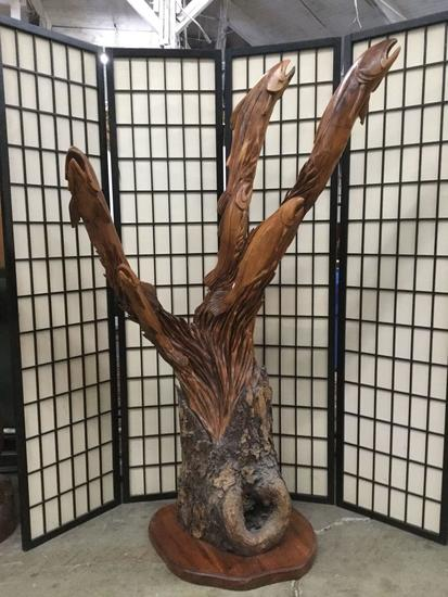 1998 carved burled tree sculpture of a salmon run by master carver Dayton Lanphear