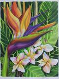 Lovely birds of paradise original watercolor floral portrait signed by the artist