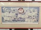 Hand signed & #'d Elk Native Alaskan print by Jacques & Mary Regat #'d 78/100