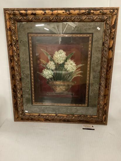 Large ornate framed still life flower print by J. Combs, approx 30x33 inches.