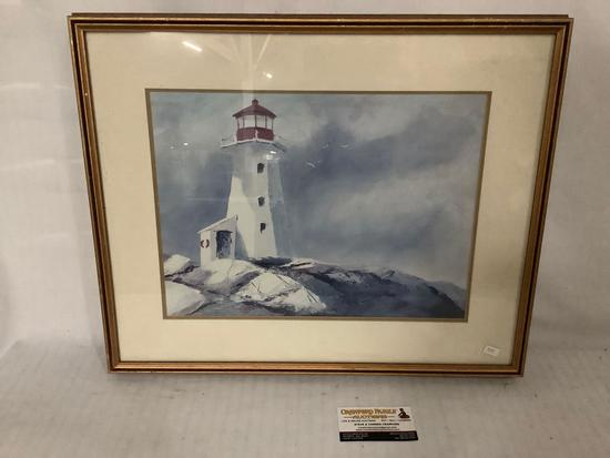 Framed lighthouse print, artist unknown, approx 21.5x18 inches.