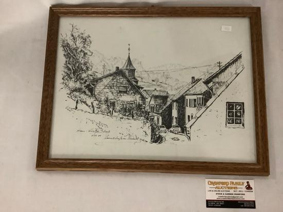 Framed ink drawing of German (?) neighborhood signed by artist Busch (?), approx 17x13 inches