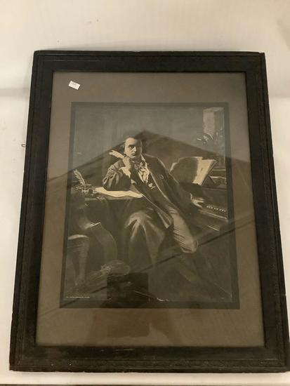 Antique framed composer print by Johnson Gordon co. of Chicago, approximately 18 x 22 inches.