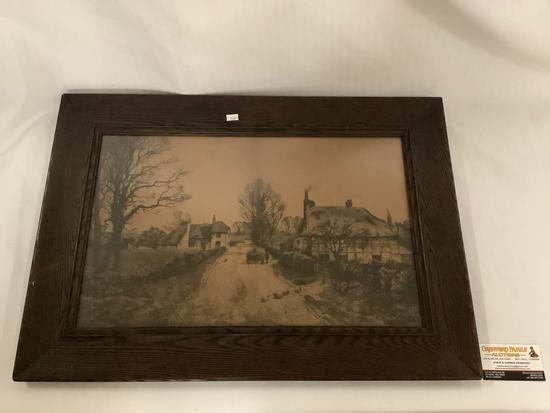 Antique print of a village street w/ducks crossing in wood frame, artist unknown