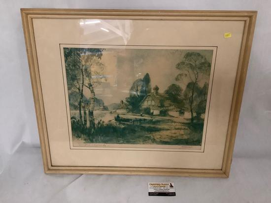Framed vintage print Springtime in Normandy by Al Mettel 1935, approx 26x22 inches