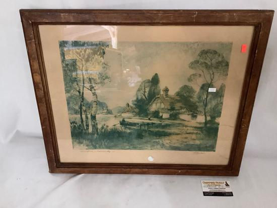 Framed vintage print Springtime in Normandy by Al Mettel 1935, approx 24x20 inches