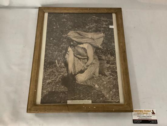 Vintage framed photograph of Hesquiat root digger approximately 15 x 18 inches