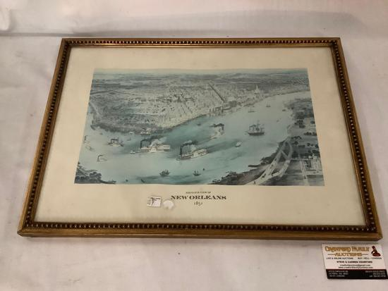 Vintage framed print birds eye view of New Orleans 1851 approximately 22 x 16 inches