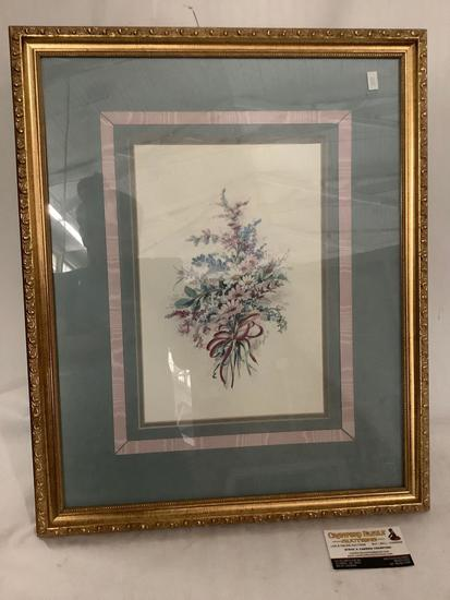 Framed flower artwork signed by unknown artist, approximately 18 x 23 inches