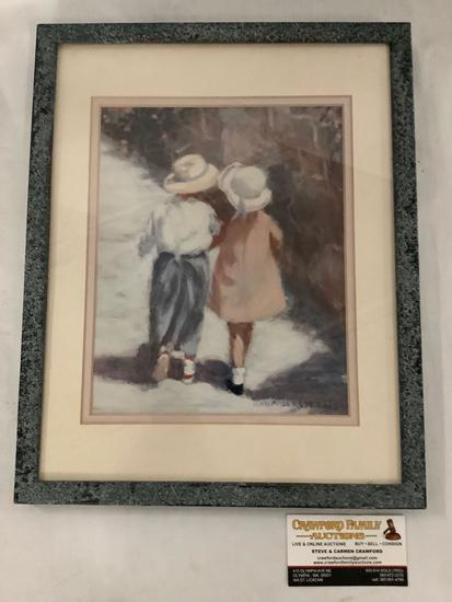 Framed print of children walking by Ivan Anderson SAI approximately 12 x 15 inches