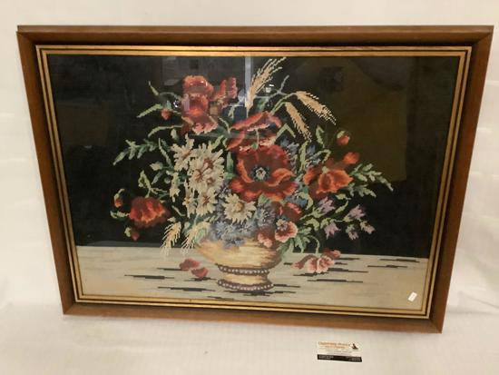 Large framed crochet art of flower vase, approx 34x25 inches.