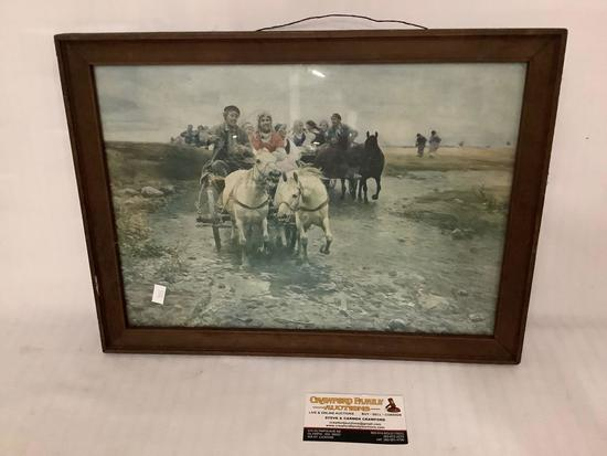 Antique framed print of horse carriage riders crossing creek, approximately 16.5 x 12.5 inches