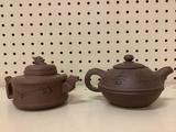 Vintage Asian Ceramic tea pots W/ incised designs