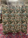 4 panel upholstered room divider screen with farmhouse and animal design