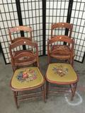4 antique needlepoint upholstered seat dining chairs - classic Americana