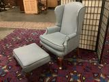 Modern blue and white wing-back arm chair w/ matching ottoman