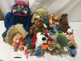 26 vintage and modern stuffed animals, toys and dolls. 1986 American Greetings - My Pet Monster,