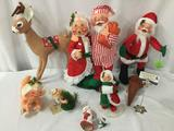 Christmas Annalee Dolls lot of 7 plus plastic elf / mouse figure Reindeer approx 13 x 20 inches