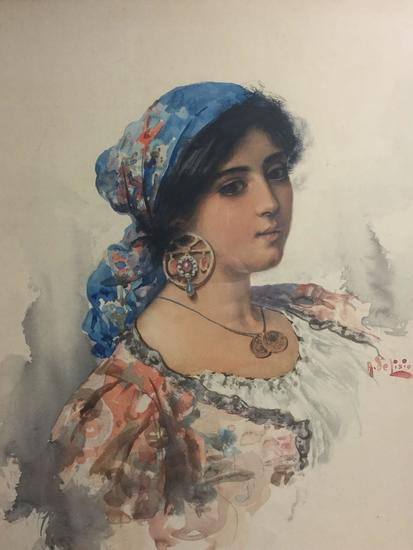 Watercolor Portrait of an Italian Beauty by artist Arnaldo de Lisio in gilt frame