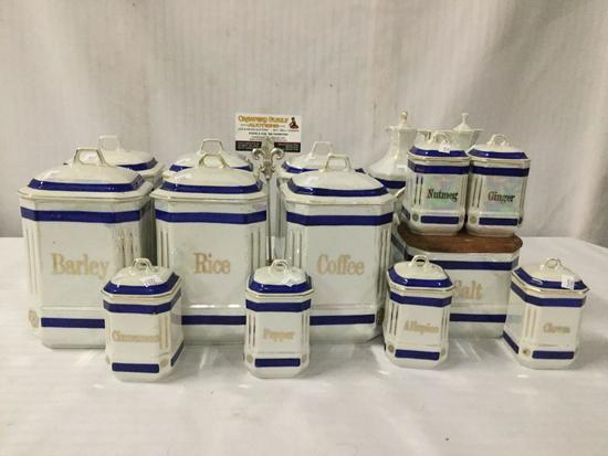 15 pieces of Epiag D.F. Czechoslovakian lusterware china. Spices and dry good jars