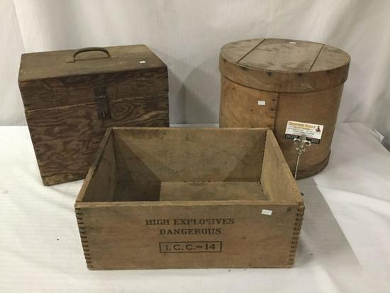 Collection of 3 vintage wooden boxes, including DuPont Hi-Velocity Gelatin Explosives crate