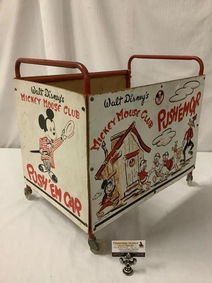 Mid century 1950's Walt Disney Mickey Mouse Club Push Em Car, children?s play toy