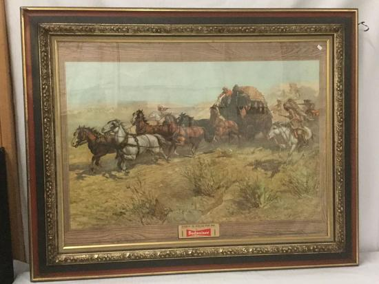 Vintage framed Budweiser advertisement print of Attack on the Overland Stage 1860
