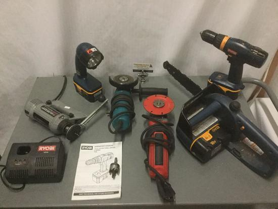 Six tools and one charging station, incl Ryobi,Milwaukee, Makita See description