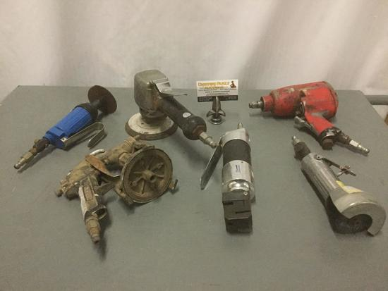 Six pneumatic hand tools, from companies like Craftsman, HDC, Central Pneumatic, Rodac, and others