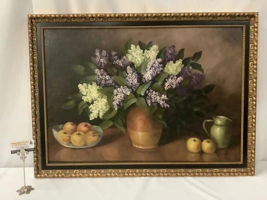 Large framed vintage still life original canvas painting of lilacs and apples, signed by artist AR