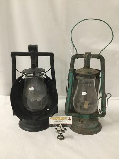 Lot of 2; No. 0 Tubular vintage kerosene lantern and Dietz Acme Inspector kerosene lamp lantern,