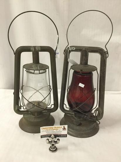 Lot of 2; Vintage Paulls kerosene lantern and Marswells kerosene lantern with Dietz Fitzall glass